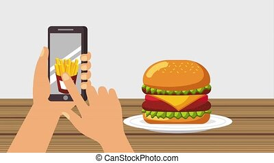 order food online - ordering burger french fries and a drink...