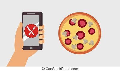order food online - payment online hand with smartphone...