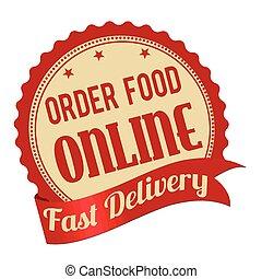 Order food online promotional label, sticker or stamp on...