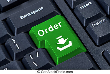 Order large bright green computer keyboard button with arrow and tray.