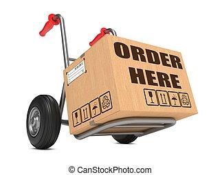 Order Here - Cardboard Box on Hand Truck. - Cardboard Box ...