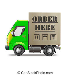 order here online internet shop web store delivery truck with cardboard box package