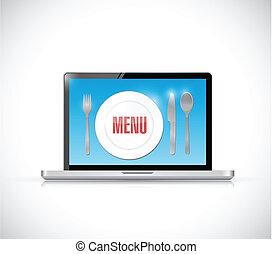 order menu on a laptop illustration design