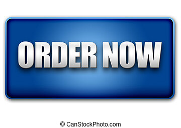 Order Now 3D Blue Button on White Background