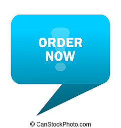 order now blue bubble icon