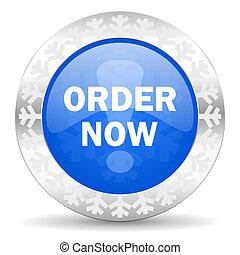 order now blue icon, christmas button