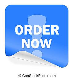 order now blue sticker icon