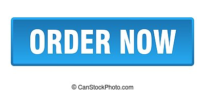 order now button. order now square blue push button