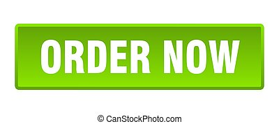 order now button. order now square green push button