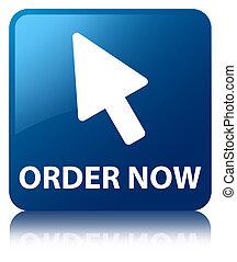 Order now (cursor icon) blue square button