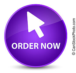 Order now (cursor icon) elegant purple round button