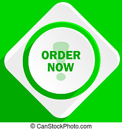 order now green flat icon