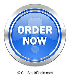 order now icon, blue button