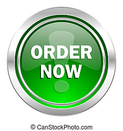 order now icon, green button