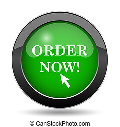 Order now icon, green website button on white background.