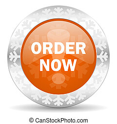 order now orange icon, christmas button