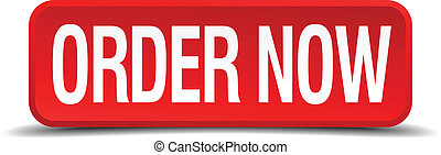 Order now red 3d square button isolated on white