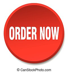order now red round flat isolated push button
