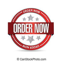 order now seal illustration design over a white background