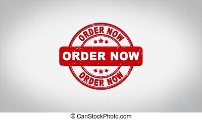 Order Now Signed Stamping Text Wooden Stamp Animation. Red Ink on Clean White Paper Surface Background with Green matte Background Included.