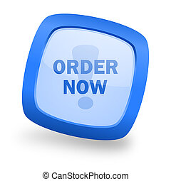 order now square glossy blue web design icon