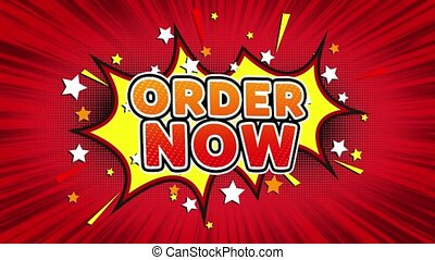 Order Now Text Pop Art Style Expression. Retro Comic Bubble Expression Cartoon illustration, Sale, Discounts, Percentages, Deal, Offer on Green Screen
