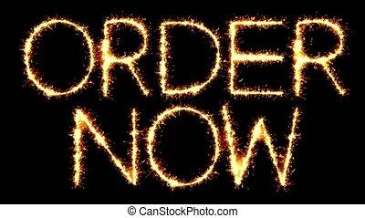 Order Now Text Sparkler Glitter Sparks Firework Loop...