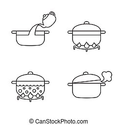 order of cooking info graphics, thin line vector for recipe, cooking pasta, noodles. Step by step