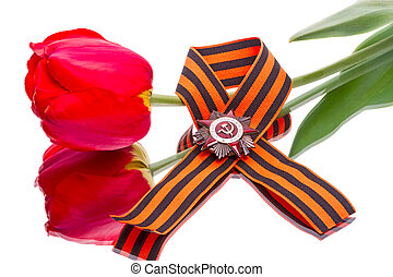 Order of the Patriotic War on ribbon and tulip