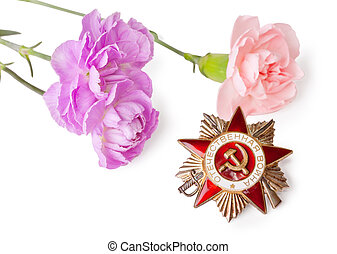 Order of the Patriotic War with pink carnations