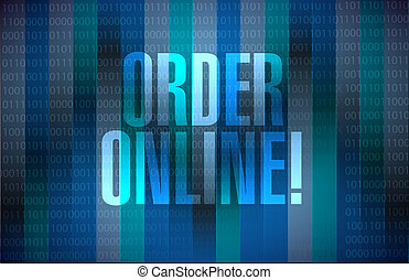 Order online binary sign concept