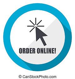 Order online blue flat design web icon