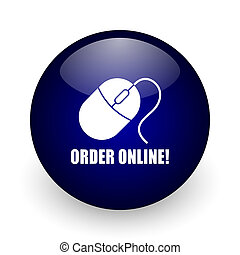 Order online blue glossy ball web icon on white background. Round 3d render button.
