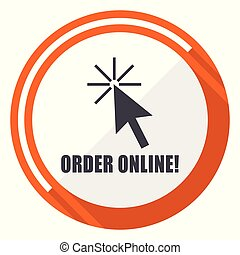 Order online flat design orange round vector icon in eps 10