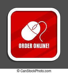 Order online icon. Flat design square internet banner.