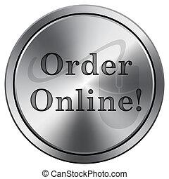 Order online icon. Round icon imitating metal.