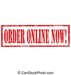 Order Online Now-stamp - Grunge rubber stamp with text Order...