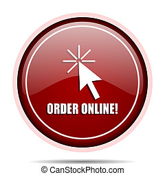 Order online red glossy round web icon. Circle isolated internet button for webdesign and smartphone applications.