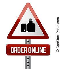 Order online road sign concept illustration design