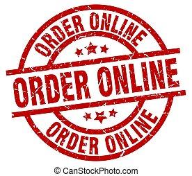 order online round red grunge stamp