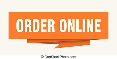 order online sign. order online paper origami speech bubble....