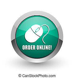 Order online silver metallic chrome web design green round internet icon with shadow on white background.
