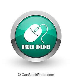 Order online silver metallic chrome web design green round internet icon with shadow on white background.