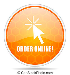Order online web icon. Round orange glossy internet button for webdesign.