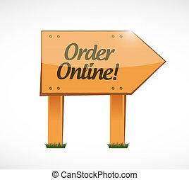 Order online wood sign concept