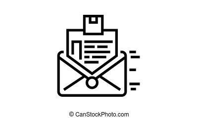 order sending in letter animated black icon. order sending in letter sign. isolated on white background
