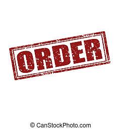 Grunge rubber stamp with word Order, vector illustration