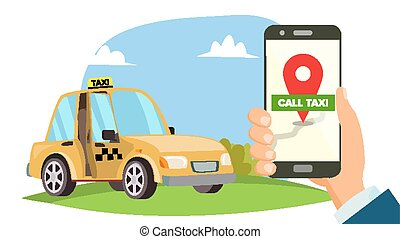 Order Taxi App Vector. Hand Holding Smartphone. Call A Taxi Mobile Concept. Application For Ordering Taxi. Flat Illustration