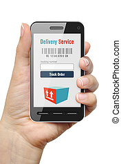 Order Tracking concept - Mobile phone with Order Tracking...