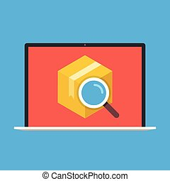 Order tracking, parcel tracking. Laptop with cardboard box and magnifying glass on screen. Flat vector illustration